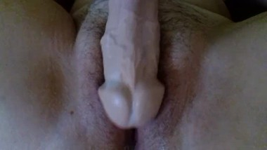Rubbing and Fucking my Huge Dildo - Creamy pussy