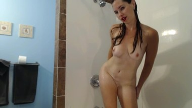 Sexy Vicky gets hot and wet as she showers for you