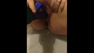 Wife plays with rabbit, makes herself squirt several times!