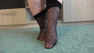 Foot bbw with feet fetish Do you like pantyhose with a pattern on fat legs?