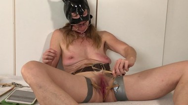 Submissive Painslut game: extreme boobs and clit torture until she squirts