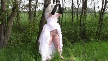 Humiliated, tied up and peeing bride