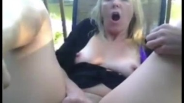 Blondie Milf Fingeing Herself To Orgasm In The Open
