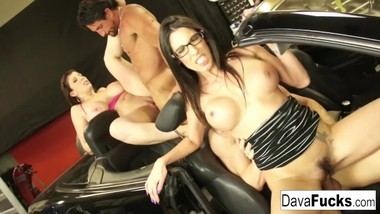 Two hotties fuck their mechanics after they fix their car