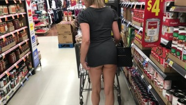 She's wearing that into Walmart? Milf nude in public