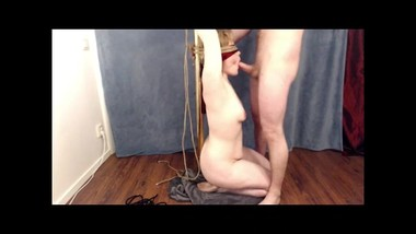 Tied up and throat fucked by Mr jay