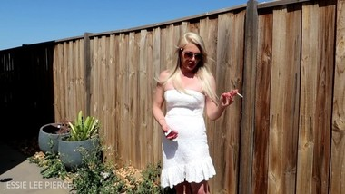 BLONDE CHAIN SMOKING CIGARETTES OUTSIDE DRESS SUNGLASSES VOYEUR AUSTRALIAN