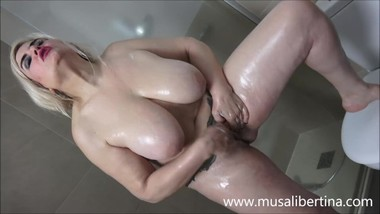 Horny mother plays alone in the bathroom by Musa Libertina