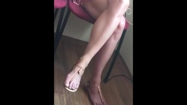 Candid feet in waiting room
