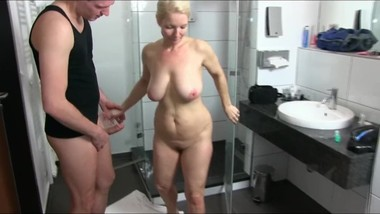 Busty german MILF fucked in the shower