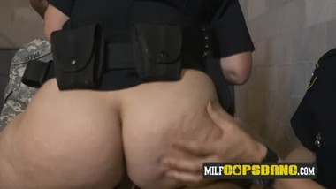 Bogus soldier is persuaded into making his cock hard for milf cops