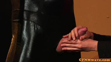 European cfnm beauties tugging slaves cock