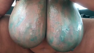 BBW German Big Tits with slime