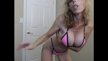Your Daily Smoke & Tease 7-1-2019 Hot Pink Bikini Sexy Abs Smoking 420 JOI