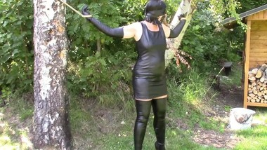 My amateur bondage, August 1, 2018: Leather dress, gloves and boots