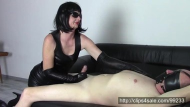 Milking a husband in long leather gloves (SAMPLE)