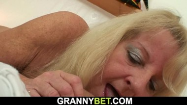 Picked up blonde granny in stockings rides his young cock