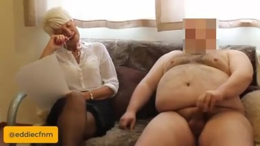 PREVIEW - Homemade, amateur, British CFNM, wanking for mature boss Karen