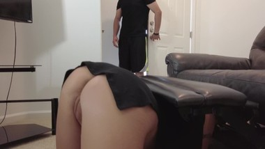4K - Step Son Gives Stepmom Creampie While She's Stuck Under Couch