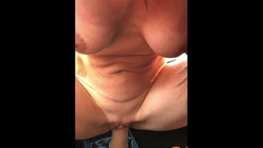 Milf Cougar fucking her car's stick shift