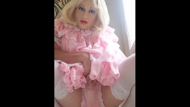 Sissy ABDL in silicone mask wets self for mommy