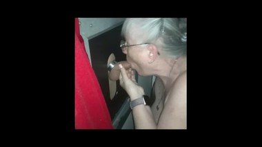 MOMMA'S 2nd GLORYHOLE VISIT - 1b She sucks his dick more