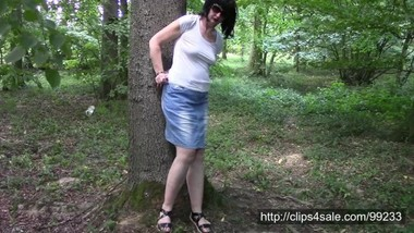Forest walk with handcuffs and watches