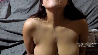 Engorged lactating. Thirsty Self suck,swooshing, swallow & milk spray. Milf