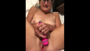 Hot Milf Granny Playing with her vibrator close up Mature