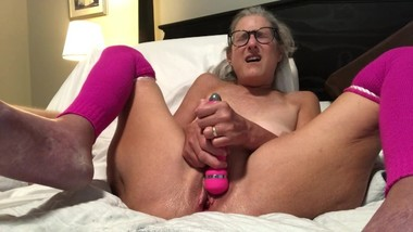 Vibrator Masturbation Pink Leggings Glass Milf Granny Mature Spread Wide