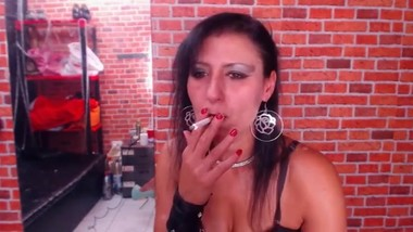 Milf Cougar Smoking Fetish Camgirl (with wet smoker's cough fit!)