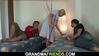 Verty old blonde granny takes two cocks from both sides