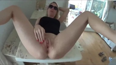 Hot Blonde Mom Takes Creampie On Table