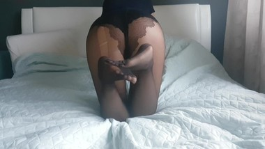 Lara's perfect ass and feet in pantyhose
