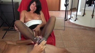 Brunette MILF Black Pantyhose Footjob