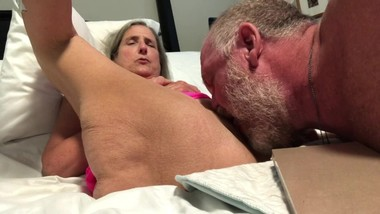 Hot Granny Milf Mature Gilf Pussy shave and lick Pink Nighty Spread wide
