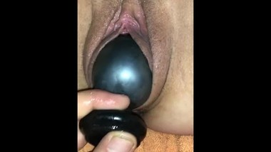STRETCHING pussy with HUGE plug!!