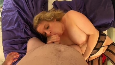 Your stepmom has sex and tittyfucks you in her bedroom POV