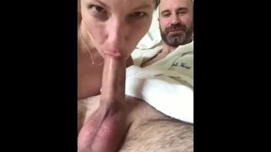 Taking good care of my master's cock and balls using only my trained mouth.