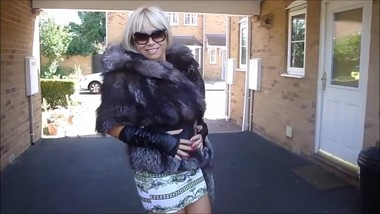 Silver Fox Fur Hoody coat & Fox fur Bag .