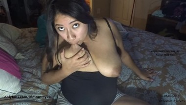 Self sucking my milky lactating tits let down milk dripping