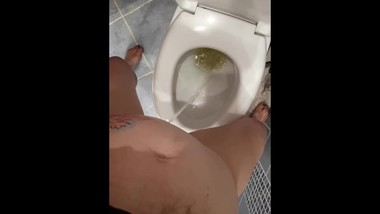 Pee desperation female POV standing, big mess