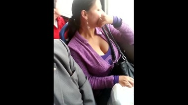milf with huge breast in the bus
