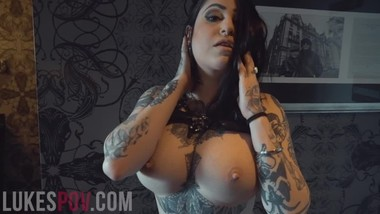 BUSTY TATTOOED OPHELIA RAIN SWALLOWS A HUGE CUM LOAD