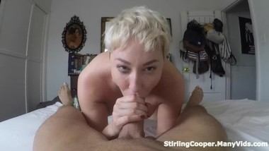 Oral Creampie for Thick Blonde Milf