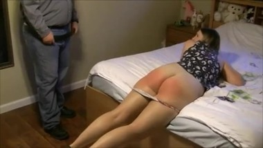 Alex spanked otk and with the belt on her barebottom by her stepmom