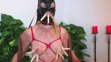 BDSM Game part3 CLOTHESPIN TORTURE to submissive painslut till she screams