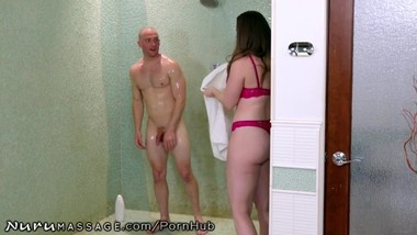 NuruMassage PAWG Stepmom Creeps on Stepson in Shower!