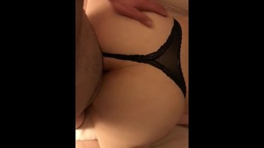 Best friends mom in black a black thong, cumming doggystyle