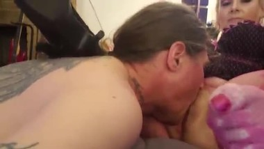 Licking Moms Freshly Shaven Chubby Wet Pussy Fishnets High Heels Taboo